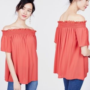 OCTAVIA   Coral Lace Trim Smocked Top XS